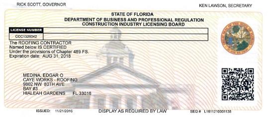 Roofing Contractor Certified